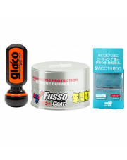 Zestaw Soft99 NEW Fusso Coat Light Colour Wax + Ultra Glaco + glinka - wosk do ciemnych lakierów + niewidzialna wycieraczka+glinka